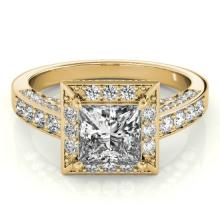Genuine 2.10 CTW Certified Princess Diamond Bridal Solitaire Halo Ring 18K Gold - 27173-REF#234Z2Y