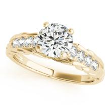 Genuine 1.20 CTW Certified Diamond Solitaire Bridal Ring 18K Yellow Gold - 27539-REF#278T9X
