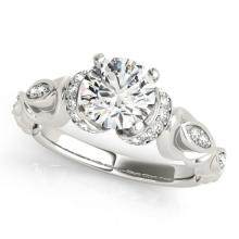 Genuine 0.75 CTW Certified Diamond Solitaire Bridal Antique Ring 18K White Gold - 27303-REF#106Y9V