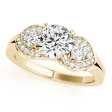 Genuine 1.45 CTW Certified Diamond 3 Stone Bridal Ring 18K Yellow Gold - 27986-REF#299X3A