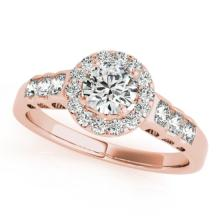 Genuine 1.30 CTW Certified Diamond Bridal Solitaire Halo Ring 18K Rose Gold - 26977-REF#176A2N
