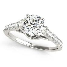 Genuine 1.46 CTW Certified Diamond Solitaire Bridal Ring 18K White Gold - 27573-REF#282H6R