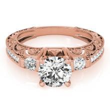 Genuine 1.38 CTW Certified Diamond Solitaire Bridal Antique Ring 18K Rose Gold - 27283-REF#299F3M