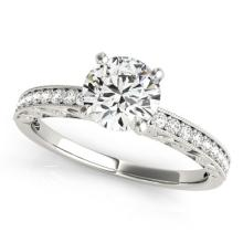 Genuine 0.70 CTW Certified Diamond Solitaire Bridal Antique Ring 18K White Gold - 27243-REF#105H5R