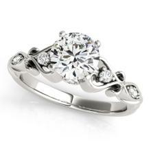 Genuine 1.15 CTW Certified Diamond Solitaire Bridal Antique Ring 18K White Gold - 27423-REF#279R7Z