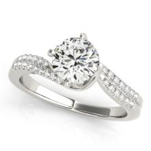 Genuine 1.20 CTW Certified Diamond Bypass Solitaire Bridal Ring 18K White Gold - 27729-REF#286K8T