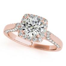 Genuine 1.08 CTW Certified Diamond Bridal Solitaire Halo Ring 18K Rose Gold - 26246-REF#115H6R