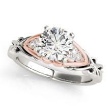 Genuine 1.10 CTW Certified Diamond Solitaire Bridal Ring 18K Two Tone Gold - 27824-REF#283X9A