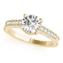 Genuine 0.34 CTW Certified Diamond Solitaire Bridal Antique Ring 18K Yellow Gold - 27383-REF#72X8A