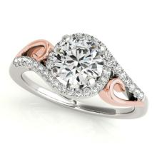 1.25 CTW Certified SI-I Diamond Bridal Solitaire Halo Ring 18K Two Tone - 26860-#296R5K