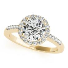 0.50 CTW Certified SI-I Diamond Bridal Solitaire Halo Ring 18K Yellow - 26322-#57K5R