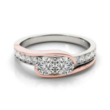 1.45 CTW Certified SI-I Diamond Bridal  2 Stone Ring 18K Two Tone Gold - 28191-#176G2M