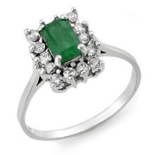 Genuine 1.40 ctw Emerald & Diamond Ring 18K White Gold - 11242-#43A7N