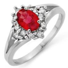 Natural 0.90 ctw Red Sapphire & Diamond Ring 10K White Gold - 10571-#30M3G