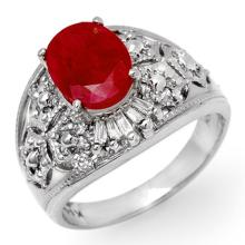 Natural 3.07 ctw Ruby & Diamond Ring 14K White Gold - 14329-#65R3H