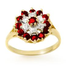 Natural 1.12 ctw Ruby & Diamond Ring 10K Yellow Gold - 12565-#18X2Y
