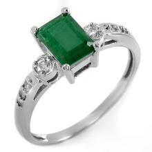 Natural 1.45 ctw Emerald & Diamond Ring 18K White Gold - 11321-#33H2W