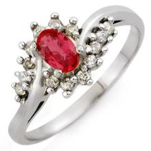 Genuine 0.55 ctw Red Sapphire & Diamond Ring 18K White Gold - 10146-#35Z3P