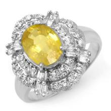 Natural 3.05 ctw Yellow Sapphire & Diamond Ring 18K White Gold - 14343-#72N7F