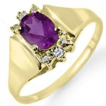Natural 0.78 ctw Amethyst & Diamond Ring 10K Yellow Gold - 12865-#13N2F