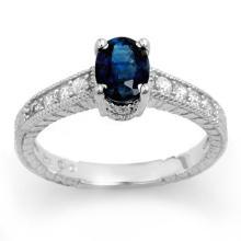 Genuine 1.63 ctw Blue Sapphire & Diamond Ring 14K White Gold - 13924-#36K8T