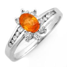 Natural 1.08 ctw Orange Sapphire & Diamond Ring 10K White Gold - 10999-#28V2A