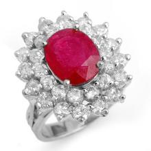 Natural 8.0 ctw Ruby & Diamond Ring 18K White Gold - 13271-#232W2K