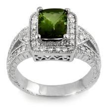 Genuine 2.55 ctw Green Tourmaline & Diamond Ring 18K White Gold - 11334-#97W3K