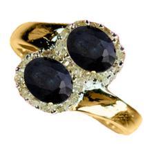 Genuine 1.63 ctw Blue Sapphire & Diamond Ring 10K Yellow Gold - 12980-#33H7W
