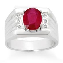 Genuine 3.06 ctw Ruby & Diamond Men's Ring 10K White Gold - 14470-#49M7G