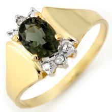 Genuine 1.04 ctw Green Tourmaline & Diamond Ring 14K Yellow Gold - 11200-#22H2W