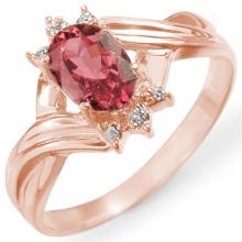 Genuine 0.79 ctw Pink Tourmaline & Diamond Ring 14K Rose Gold - 11424-#24Y2V