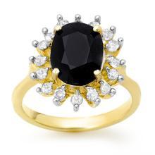 Genuine 3.67 ctw Blue Sapphire & Diamond Ring 10K Yellow Gold - 12752-#46F2M