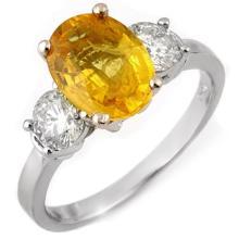 Genuine 3.75 ctw Yellow Sapphire & Diamond Ring 14K White Gold - 11318-#98K5T