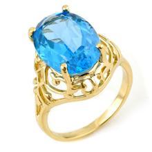 Genuine 8.0 ctw Blue Topaz Ring 10K Yellow Gold - 11282-#19R5H
