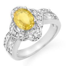 Genuine 3.50 ctw Blue Sapphire & Diamond Ring 14K White Gold - 14164-#77Y5V