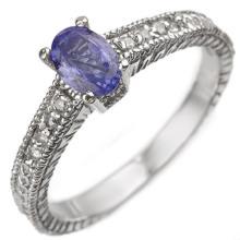 Natural 0.66 ctw Tanzanite & Diamond Ring 10K White Gold - 10897-#23X2Y