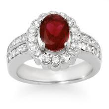 Genuine 2.25 ctw Rubellite & Diamond Ring 14K White Gold - 10736-#80W5K