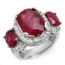 Natural 10.0 ctw Rubellite & Diamond Ring 14K White Gold - 10443-#196Z5P