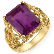 Genuine 8.03 ctw Amethyst & Diamond Ring 10K Yellow Gold - 10916-#31N5F