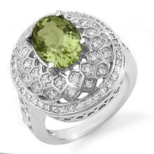 Genuine 4.05 ctw Green Tourmaline & Diamond Ring 14K White Gold - 10640-#124Y3V