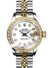 Rolex Men's 2Tone 14K Gold/ SS, QuickSet, Diamond Dial & Diamond Bezel - REF#458T2V