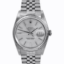 Pre-owned Excellent Condition Authentic Rolex Men's Stainless Steel DateJust Silver Dial Watch - REF#-210T2K