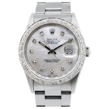 Pre-owned Excellent Condition Authentic Rolex Quickset Men's 18K/Stainless Steel DateJust Mother of Pearl Dial Watch - REF#-460A2Z