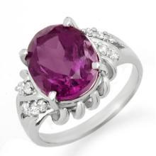 Genuine 3.21 ctw Amethyst & Diamond Ring 18K White Gold - 12567-#39X5Y