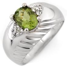 Natural 1.15 ctw Green Tourmaline & Diamond Ring 10K White Gold - 11346-#36W3K