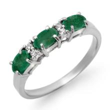 Natural 0.88 ctw Emerald & Diamond Ring 10K White Gold - 12572-#18R8H