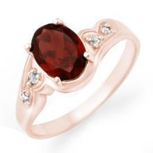 Genuine 1.26 ctw Garnet & Diamond Ring 18K Rose Gold - 12457-#26M8G
