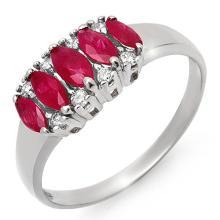 Genuine 0.77 ctw Ruby & Diamond Ring 18K White Gold - 12337-#31Y8V