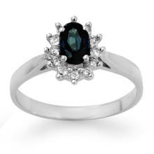 Natural 0.70 ctw Blue Sapphire & Diamond Ring 14K White Gold - 14232-#24W2K